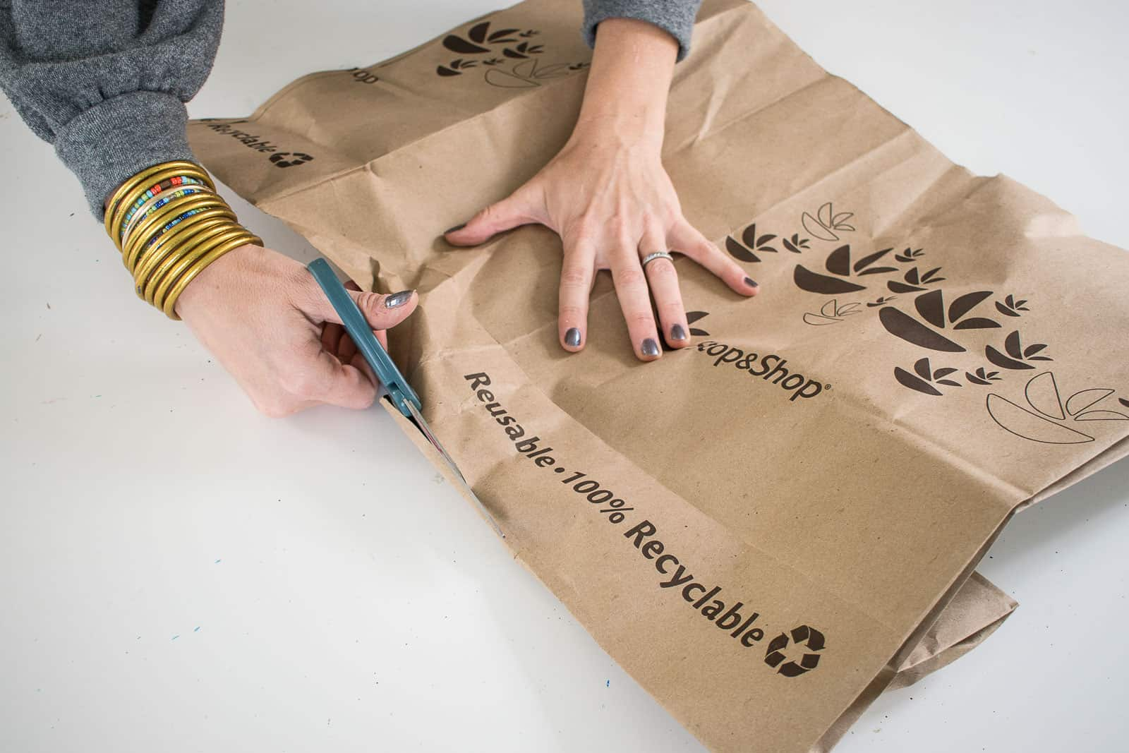 cut open the paper bags