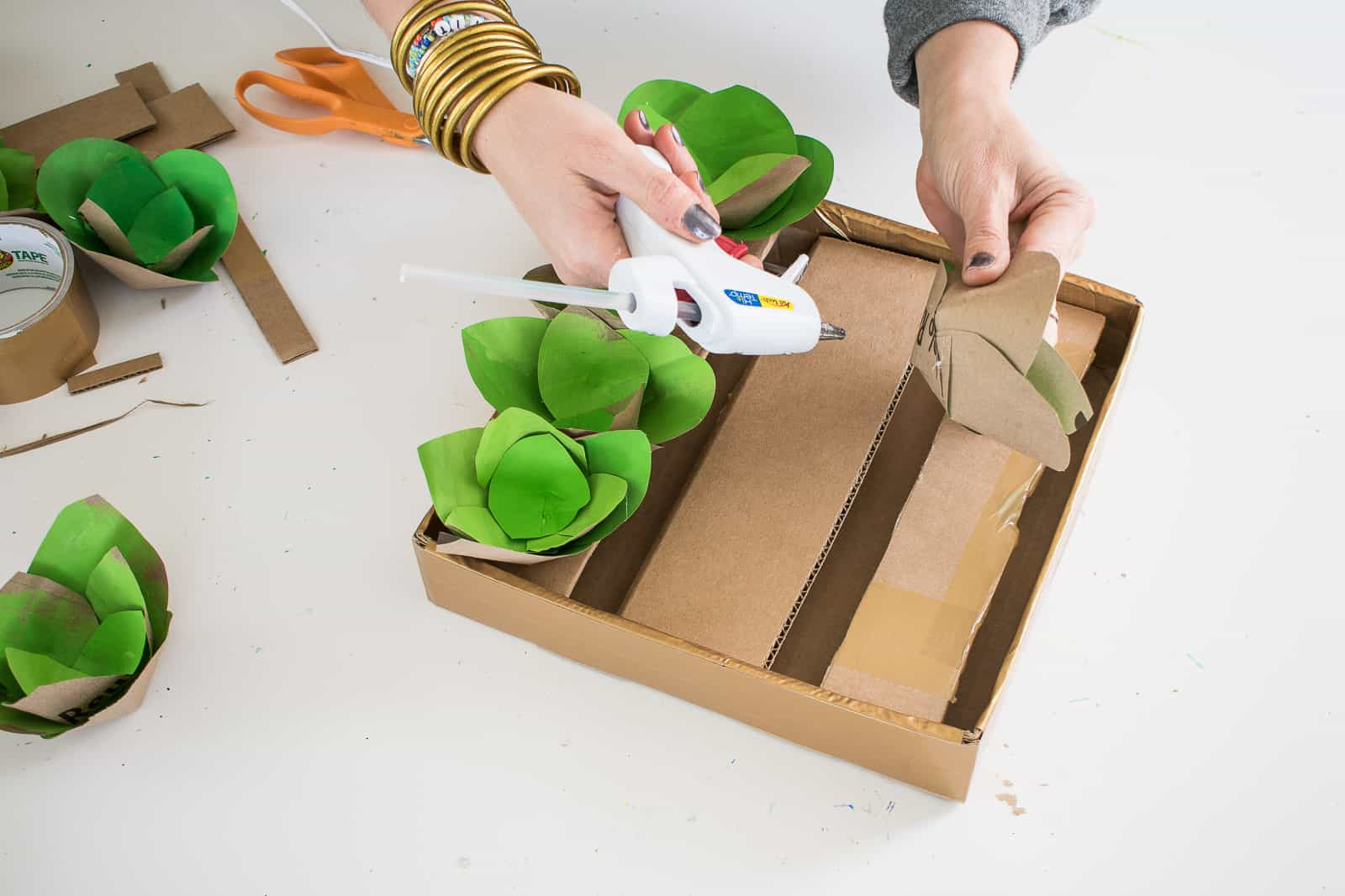 glue succulents onto box