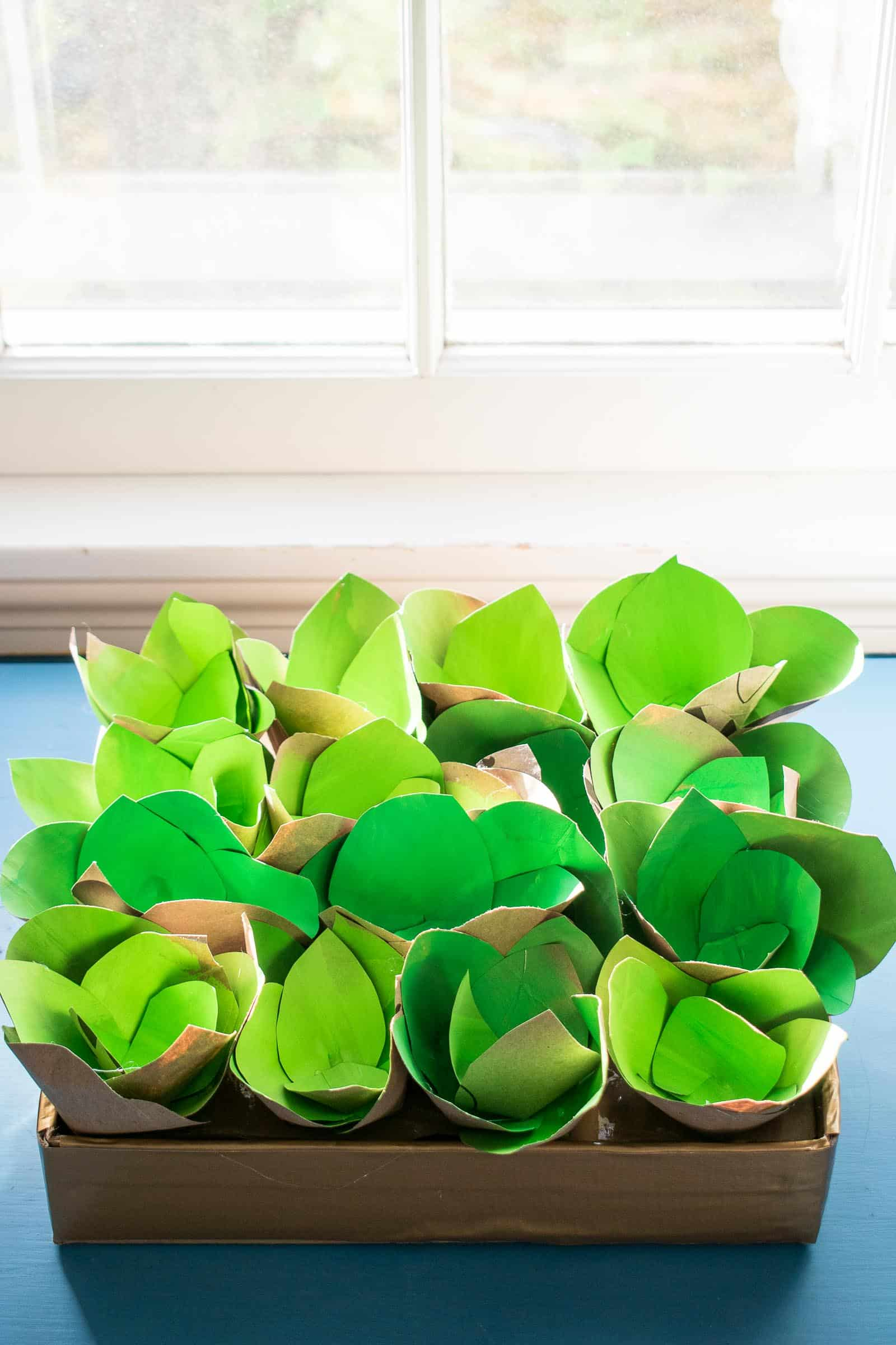paper bag succulent centerpiece