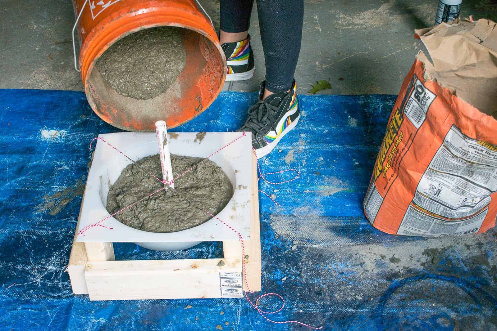 mix concrete and pour in mold