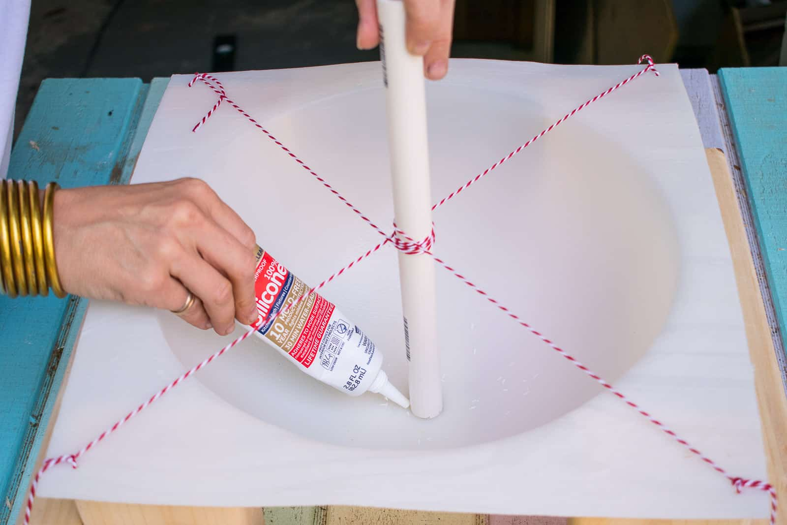 apply silicon to hold pvc pipe in place