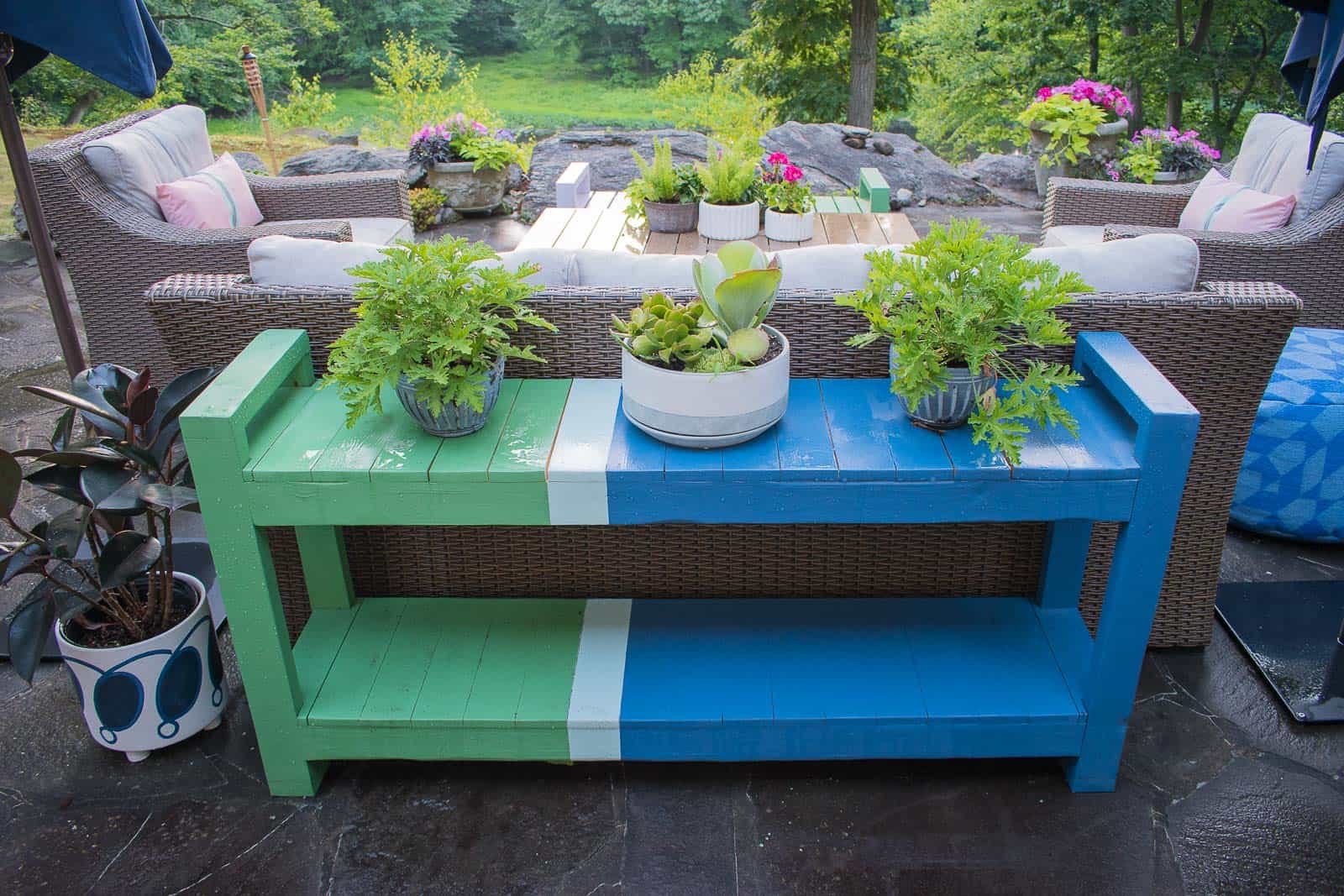 color blocked patio furniture