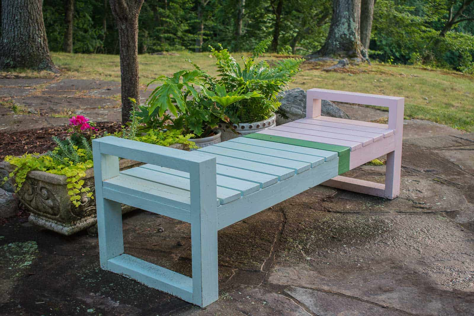 color blocked painted patio furniture