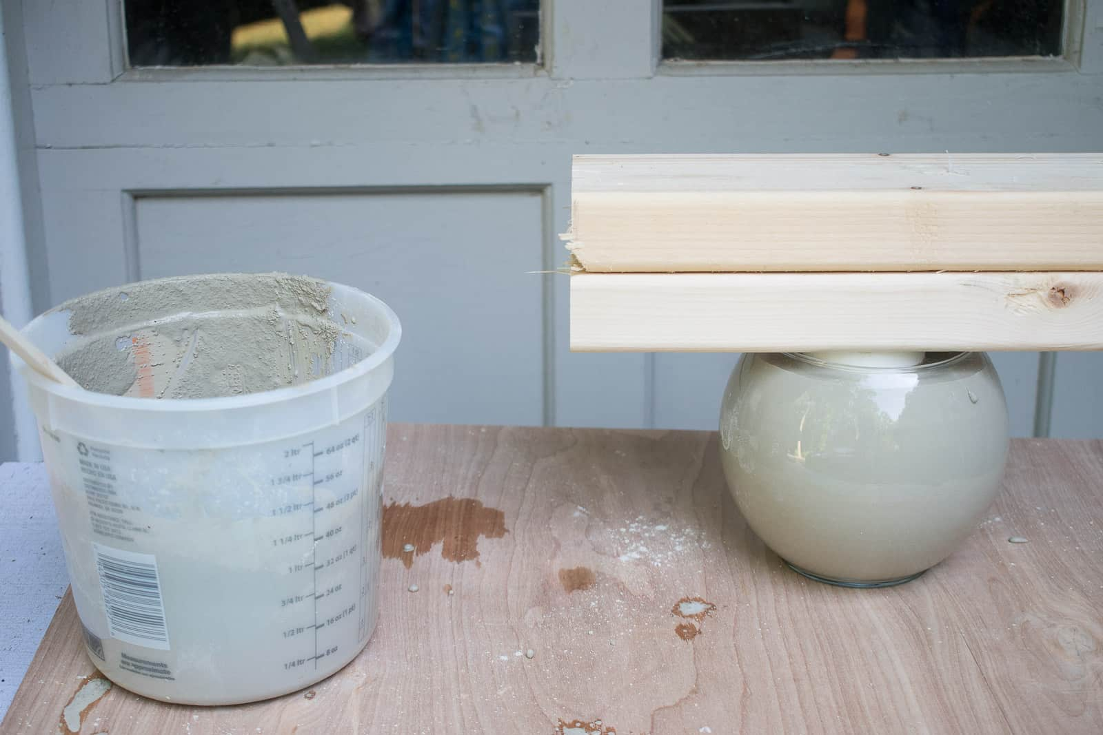 pour cement into glass mold