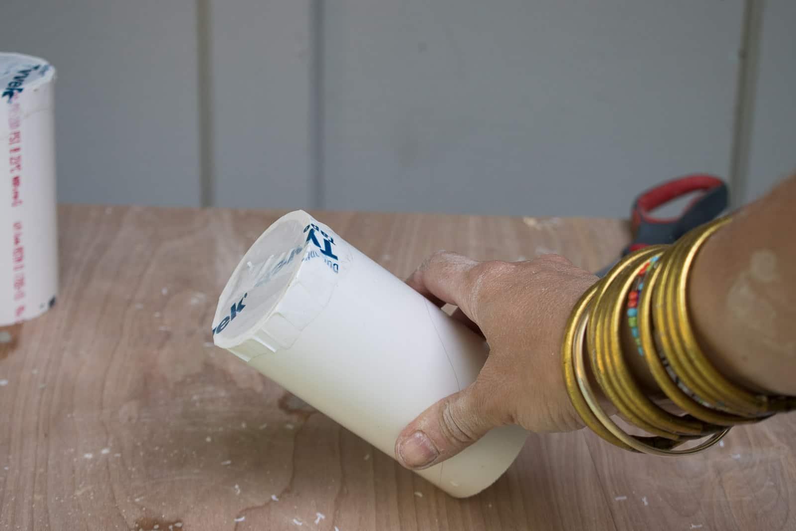 Tyvek tape on a PVC pipe