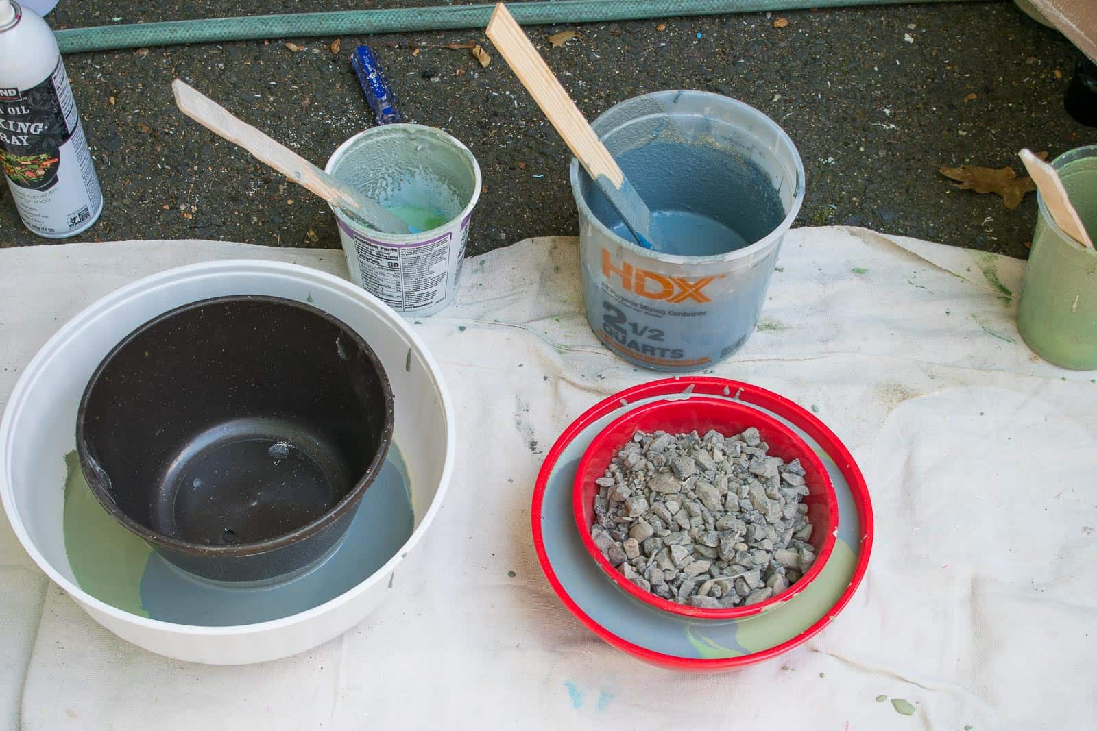 prep the bowls and pour cement