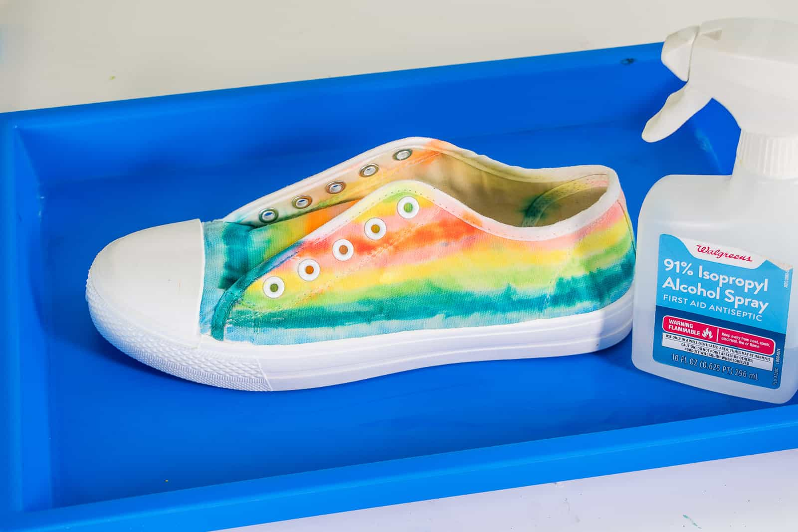 shoes sprayed with rubbing alcohol