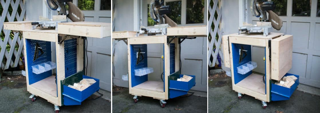 Rolling Miter Saw Cart with Storage