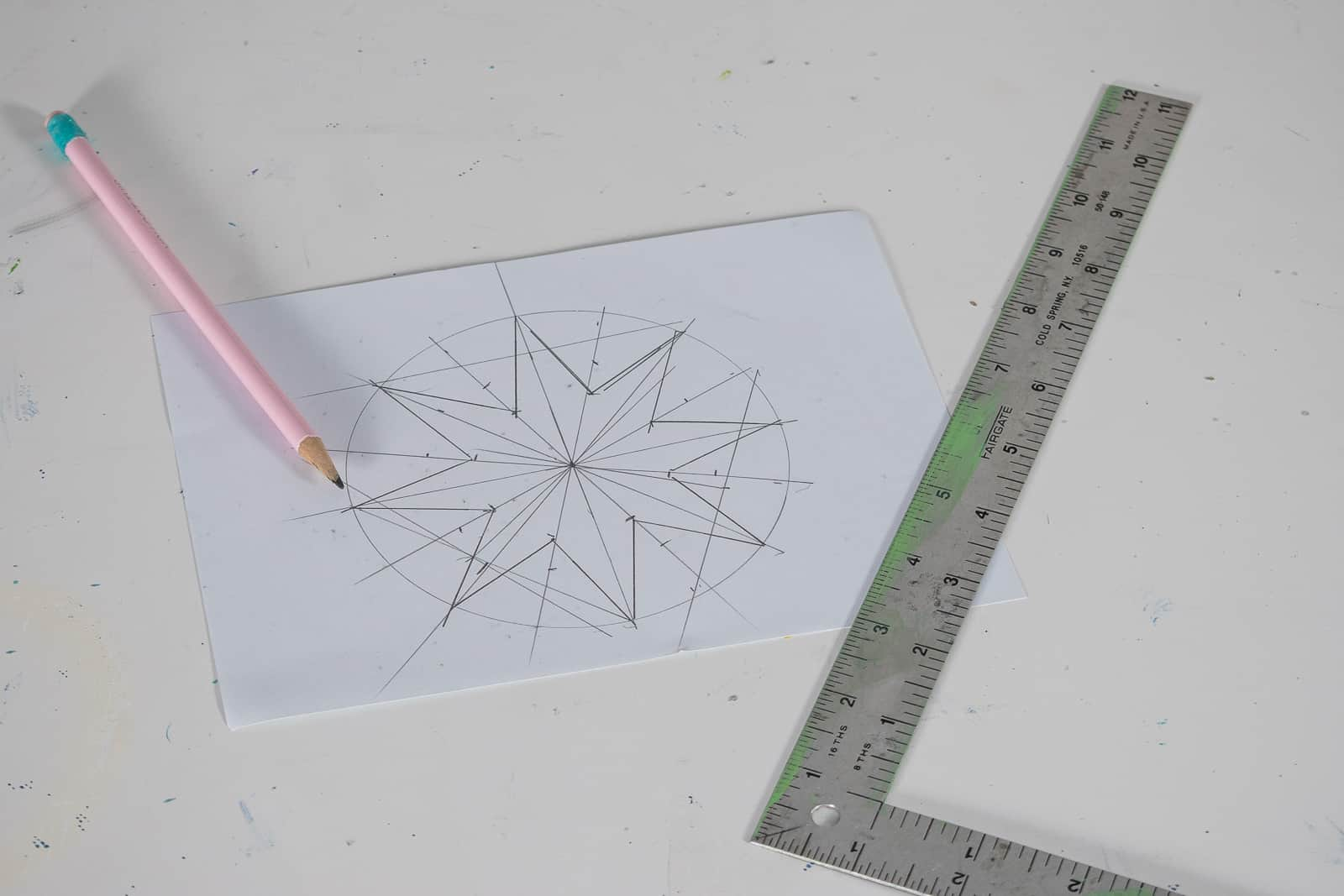 drawing a design for DIY fabric stamp