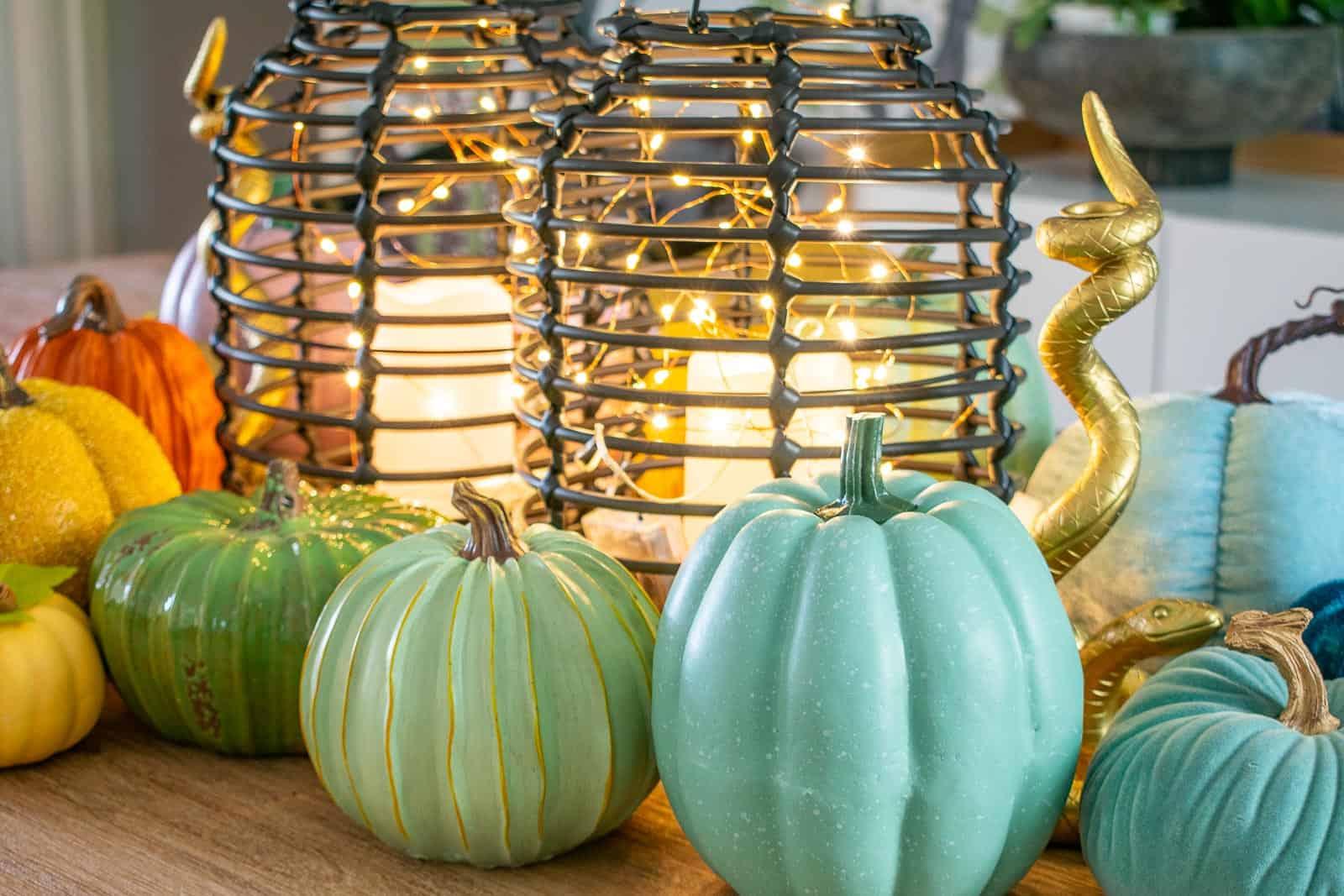 colorful pumpkin decor