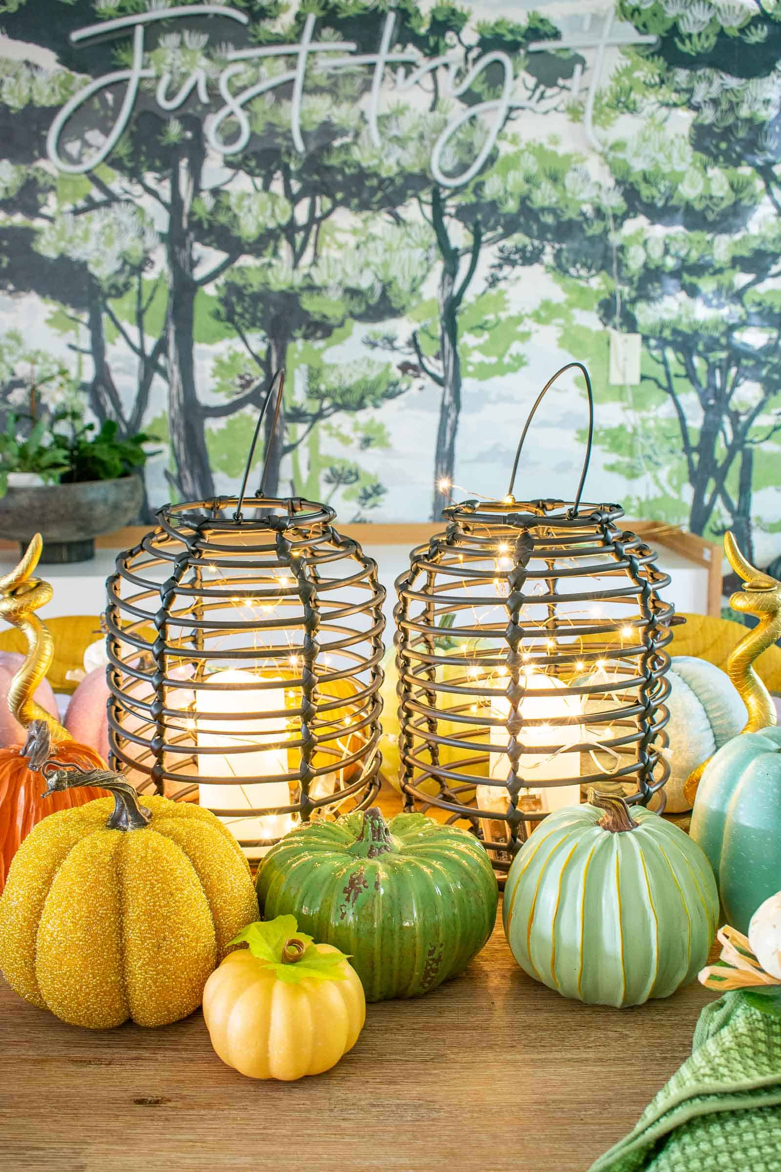 micro lights on fall table lanterns
