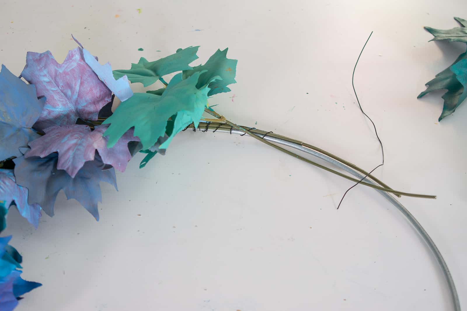 wire leaves onto wreath form