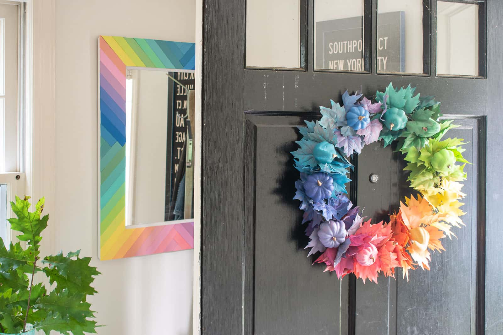 rainbow leaf wreath