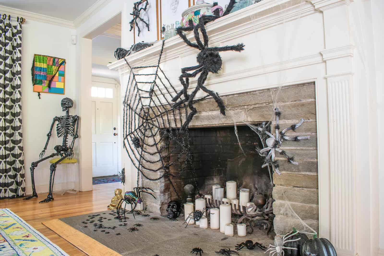 spiders on halloween mantel