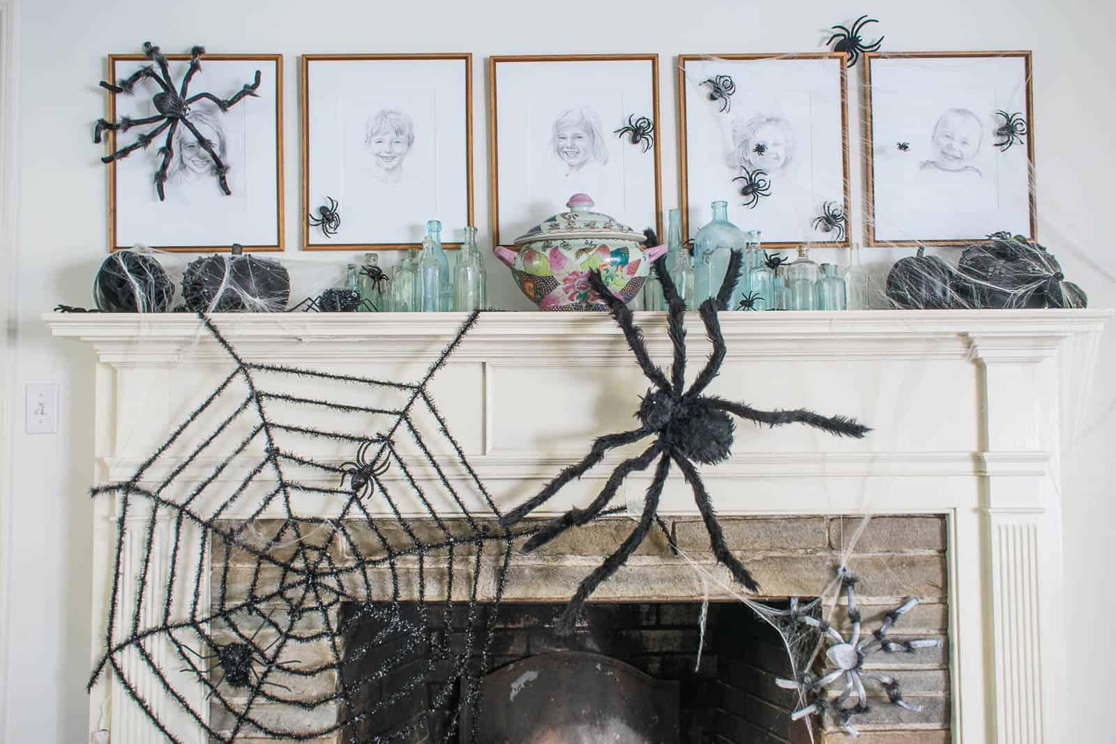 Halloween spider mantel