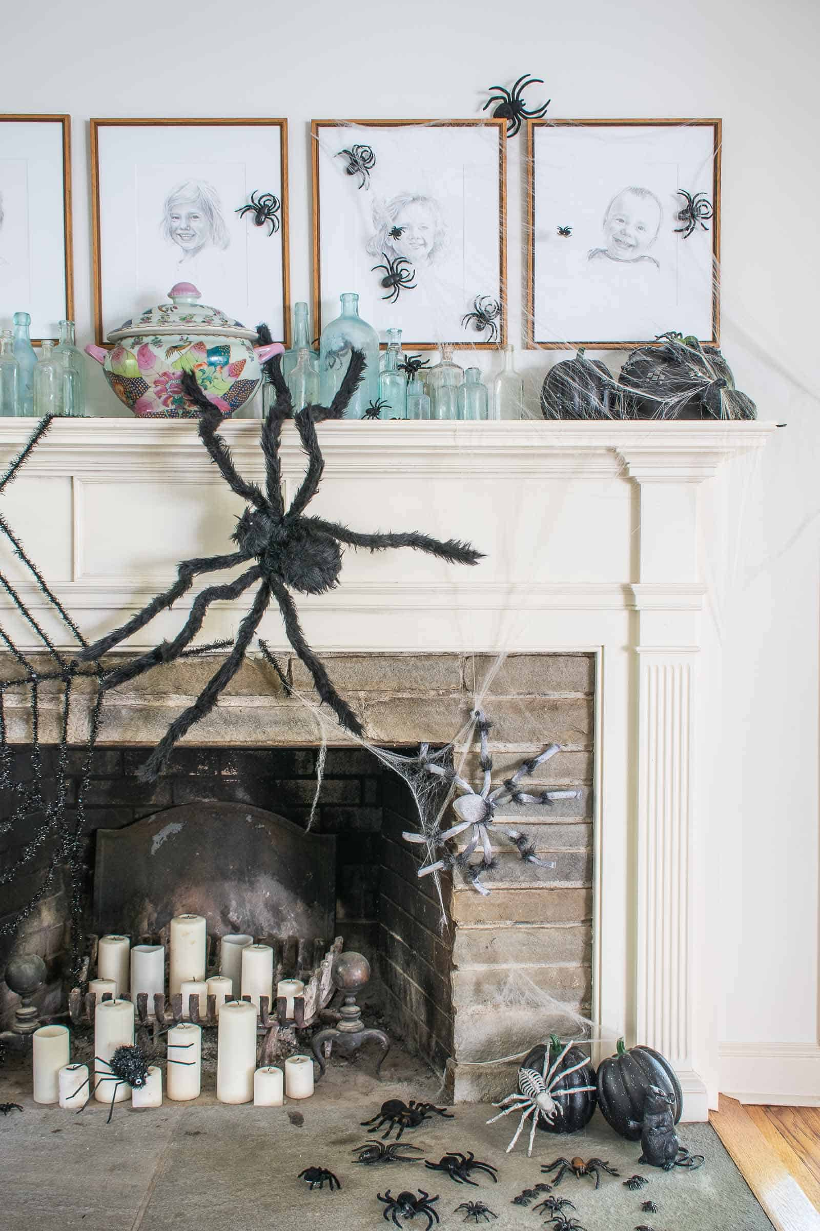 spiders on a halloween mantel