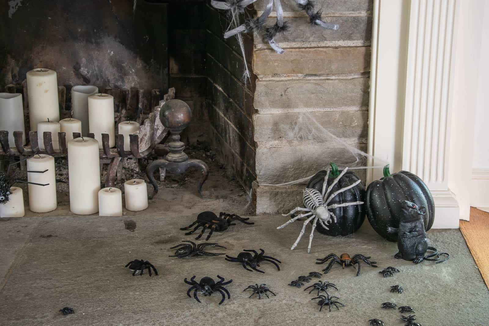 spiders skittering out of fireplace