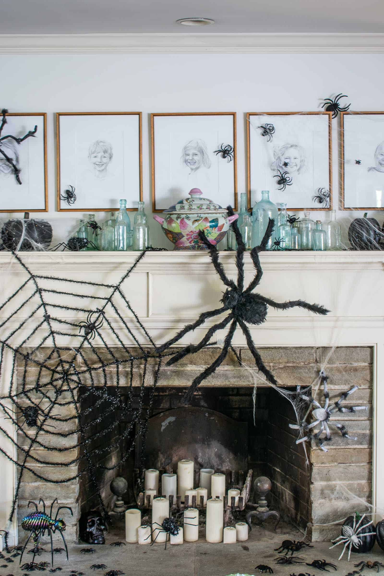 spiders crawling on halloween mantel