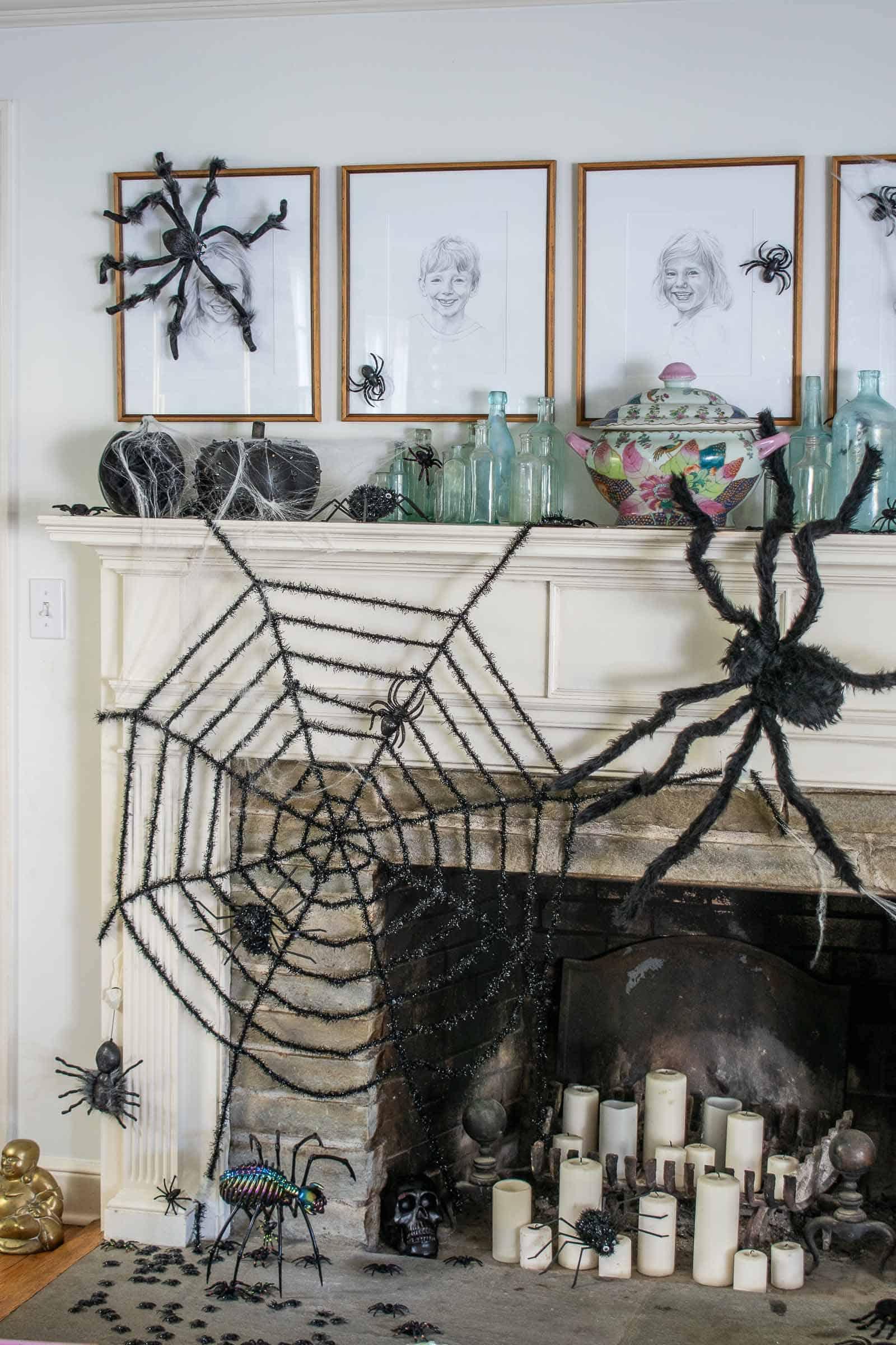 black spiderweb on halloween mantel