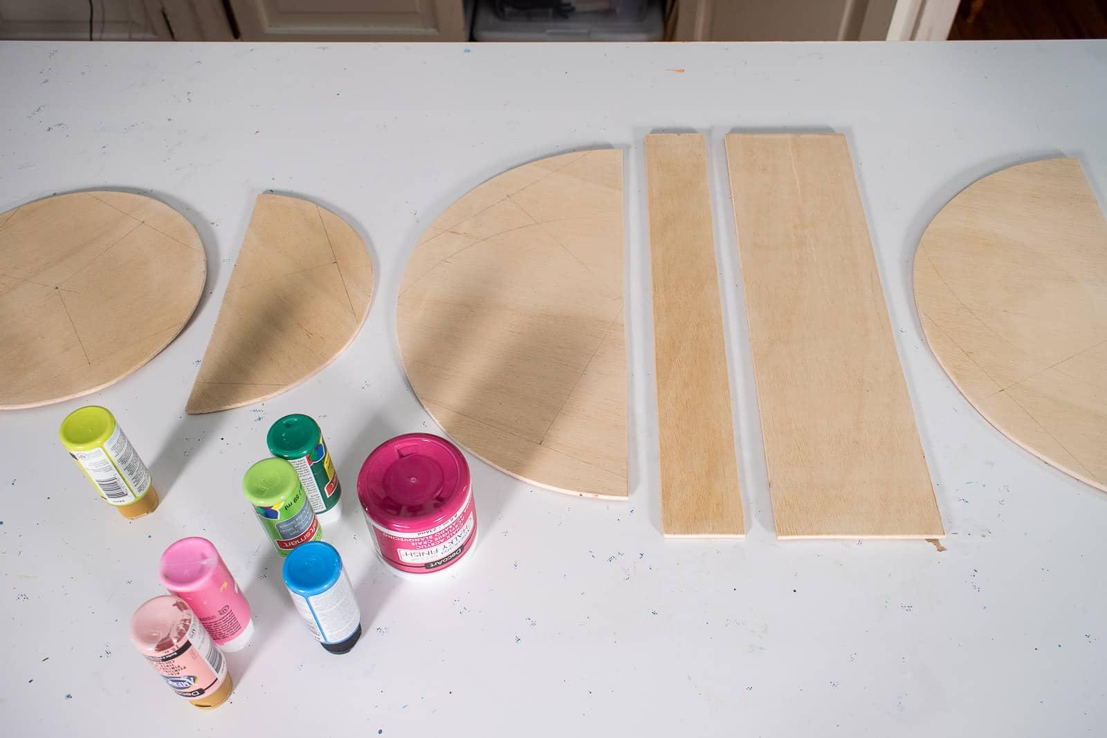 paint each wooden shape