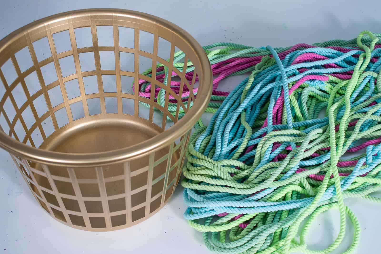 dyed rope and gold basket