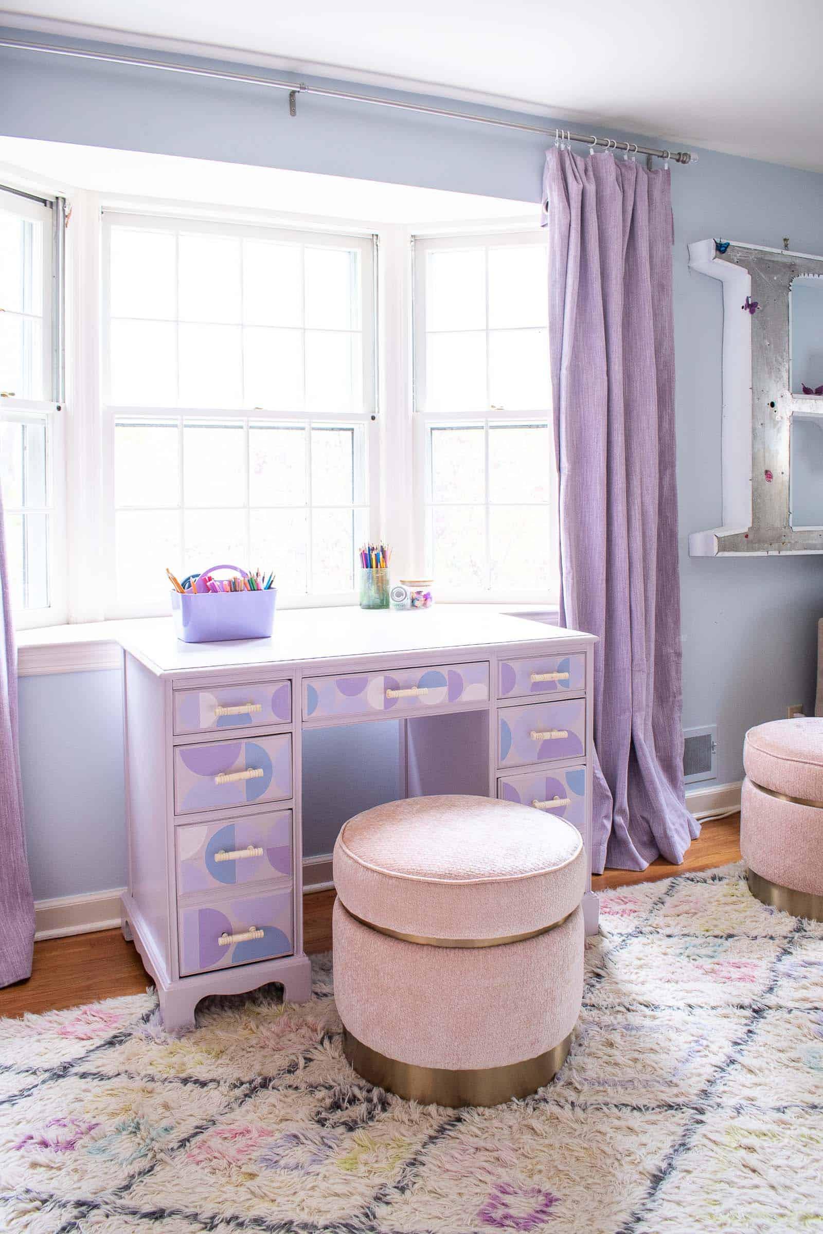 repainted desk in girls room
