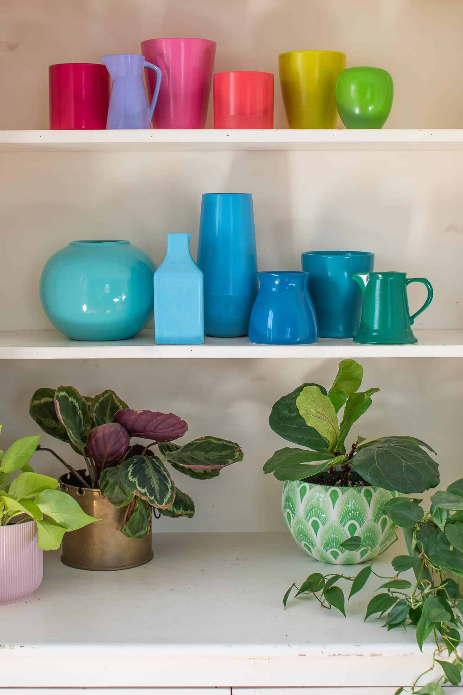 rainbow colored spray painted pottery