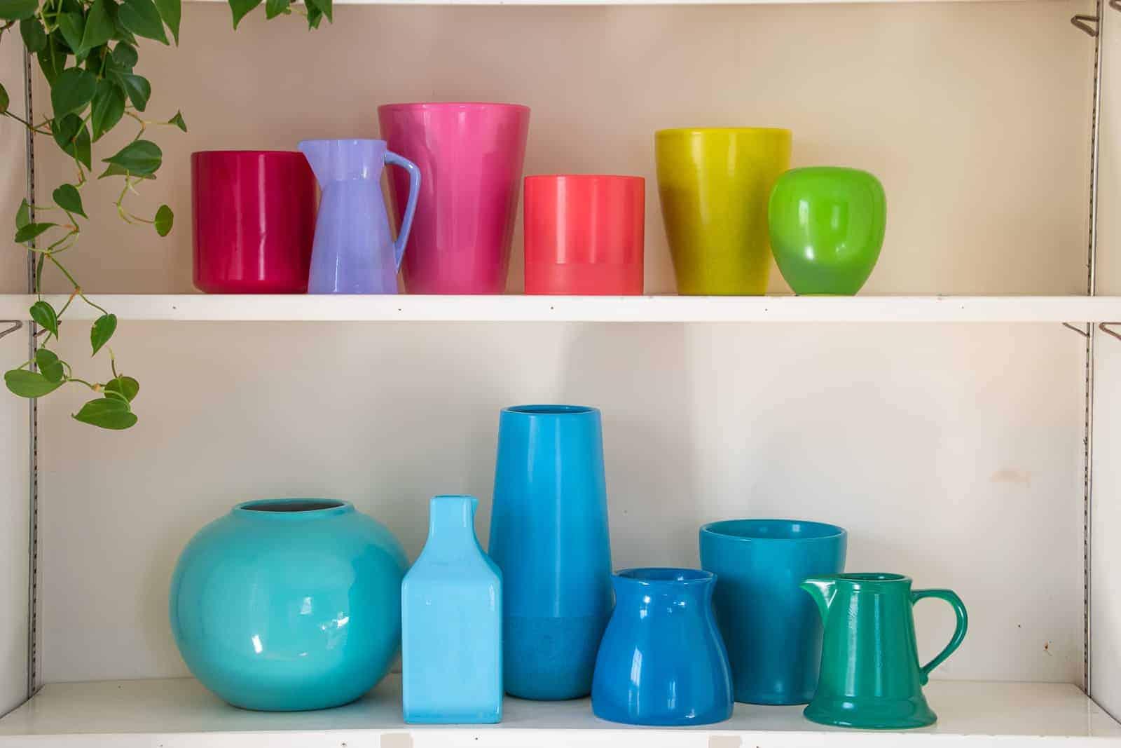 spray painted rainbow pottery