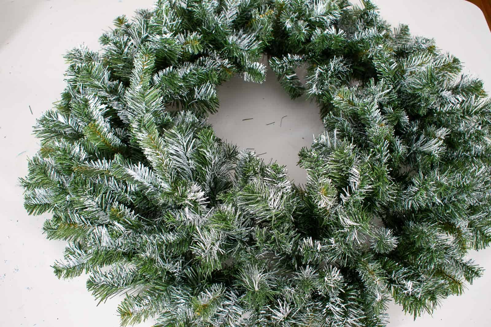 flocking a wreath with chalk paint