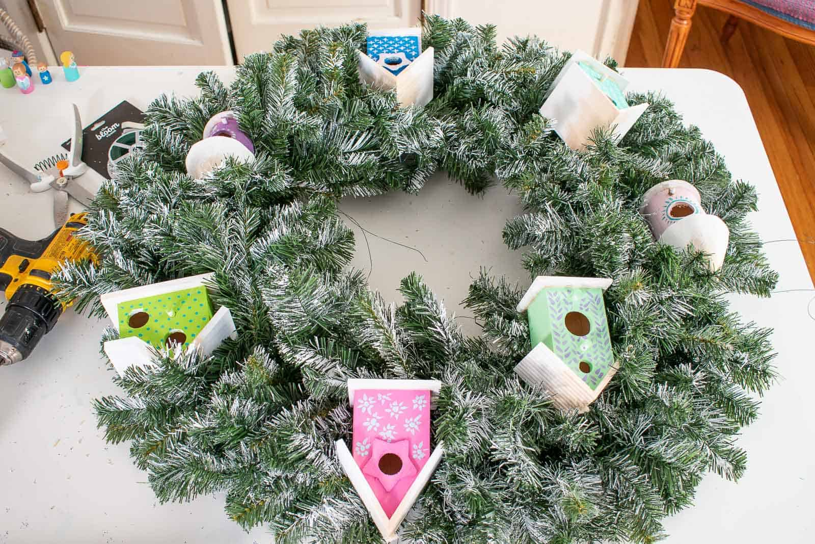 add houses to wreath