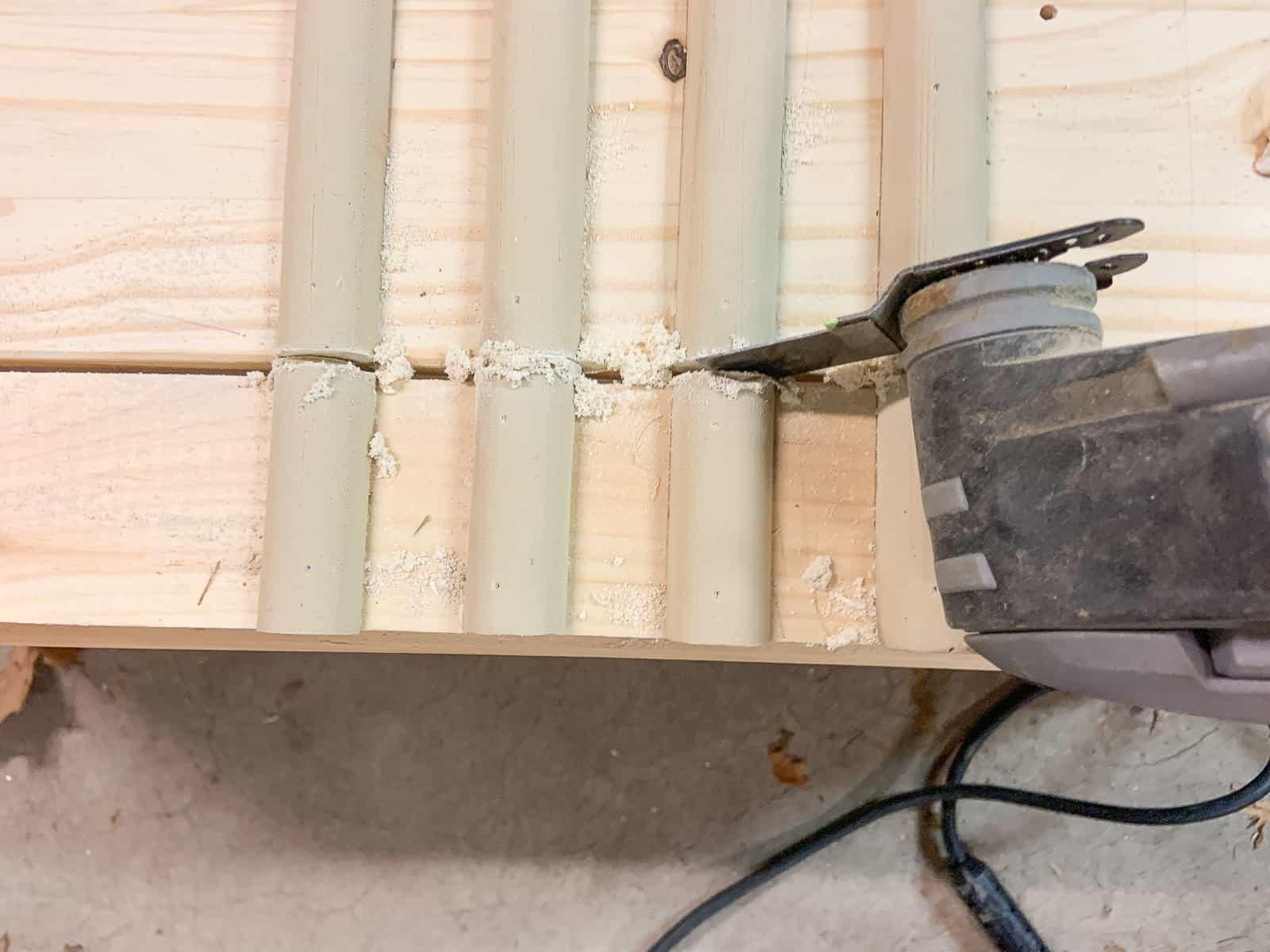 using a dremel to cut the trim