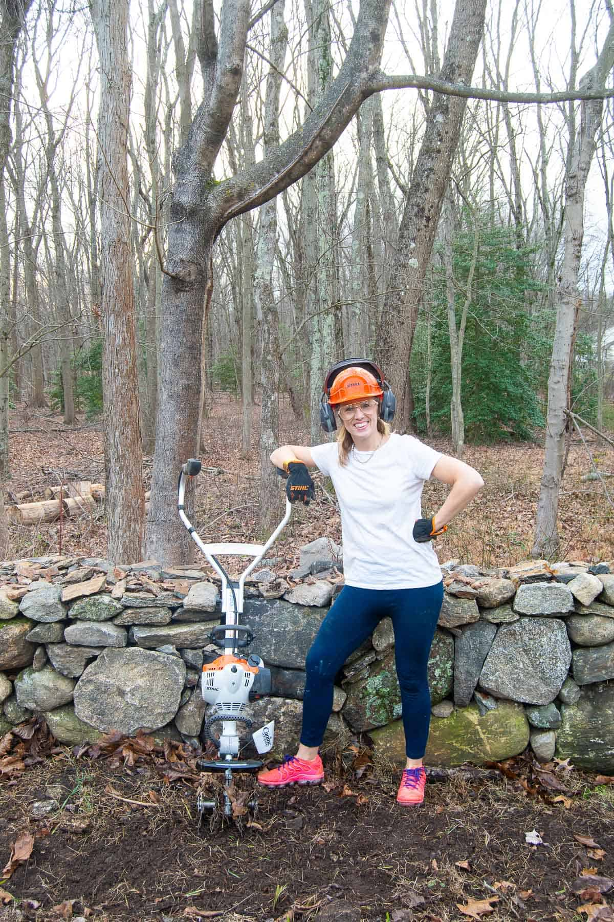creating a garden bed with stihl