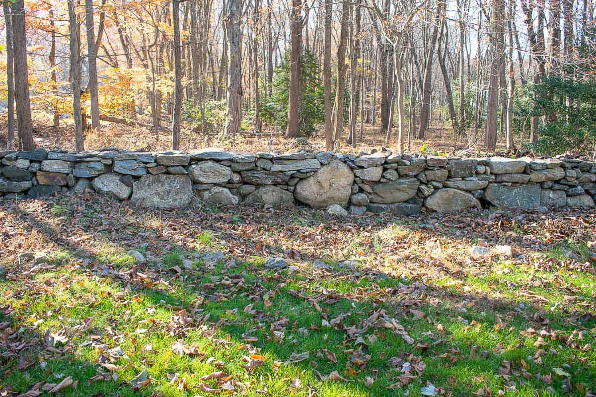 stone wall with new garden bed in front of it