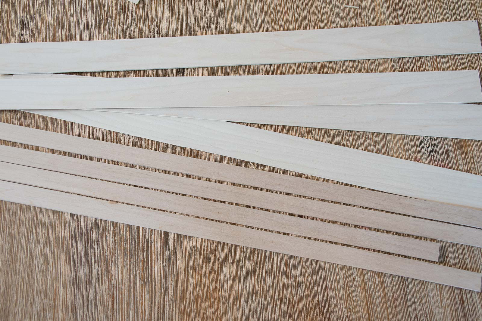 strips of basswood cut for the frame