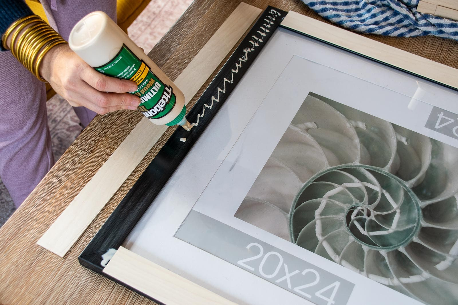 glue the basswood onto the top of the frame