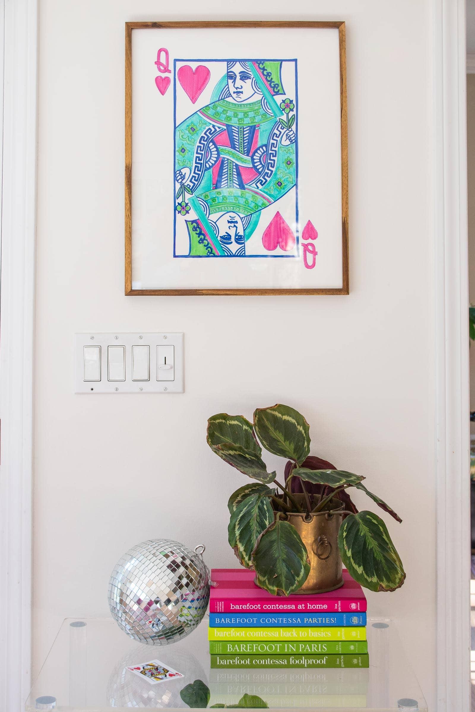 oversized queen of hearts artwork