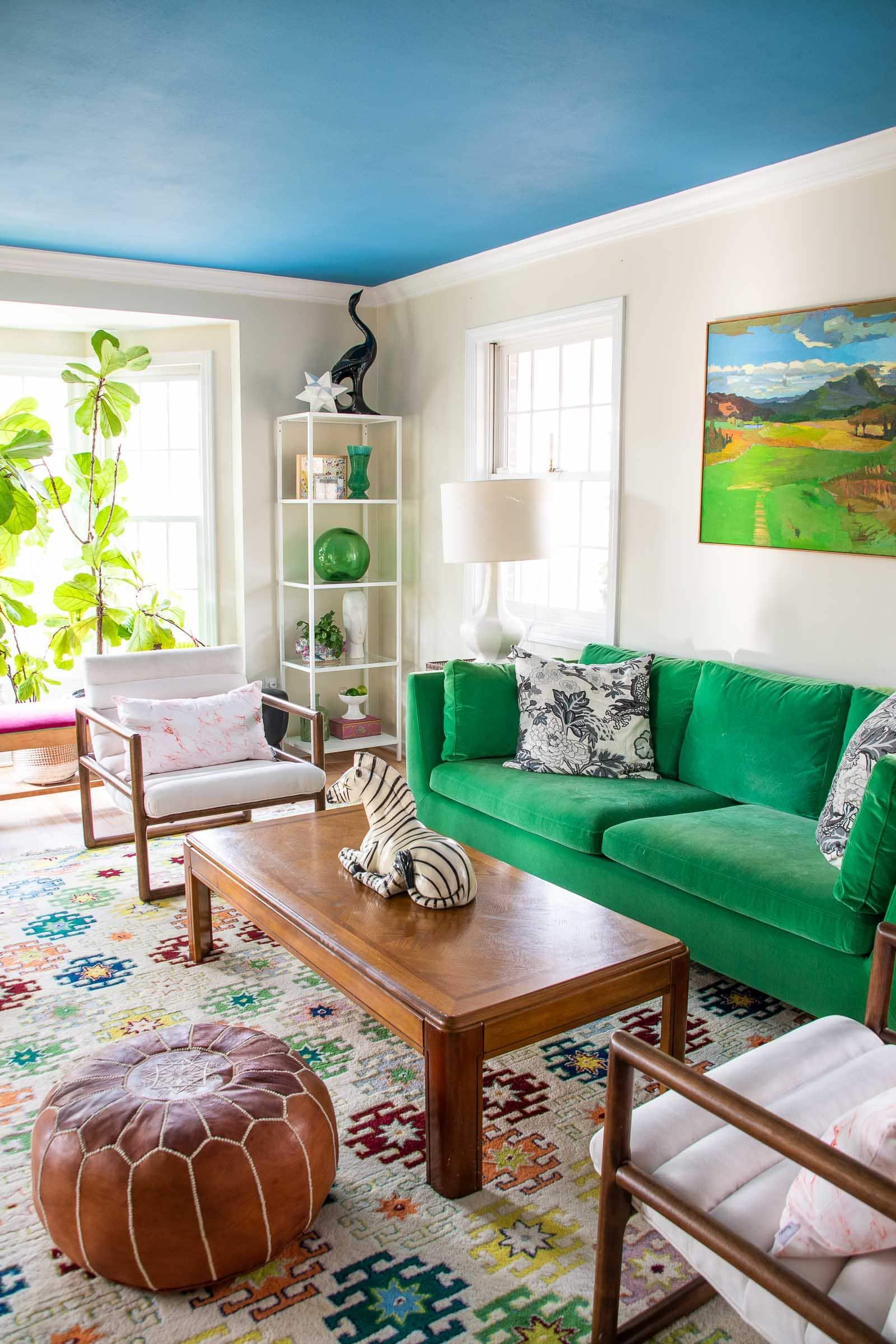 shelves styled in living room