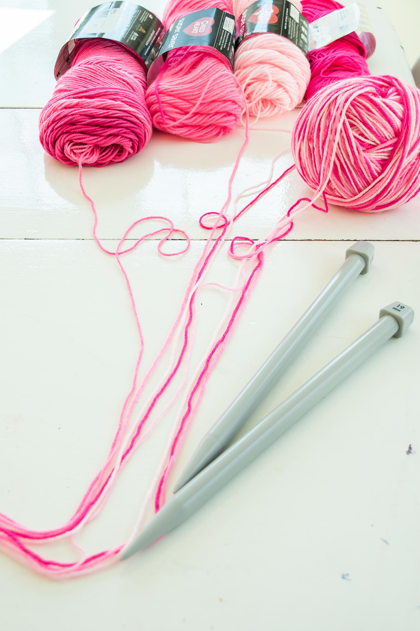 prepping yarn for hearts