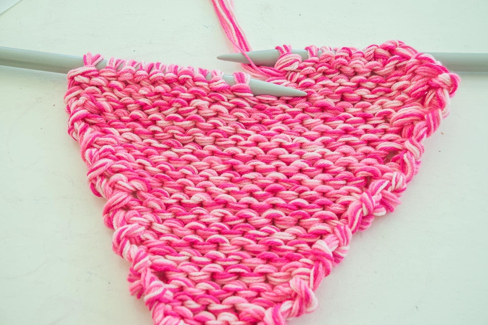 split the yarn on two needles
