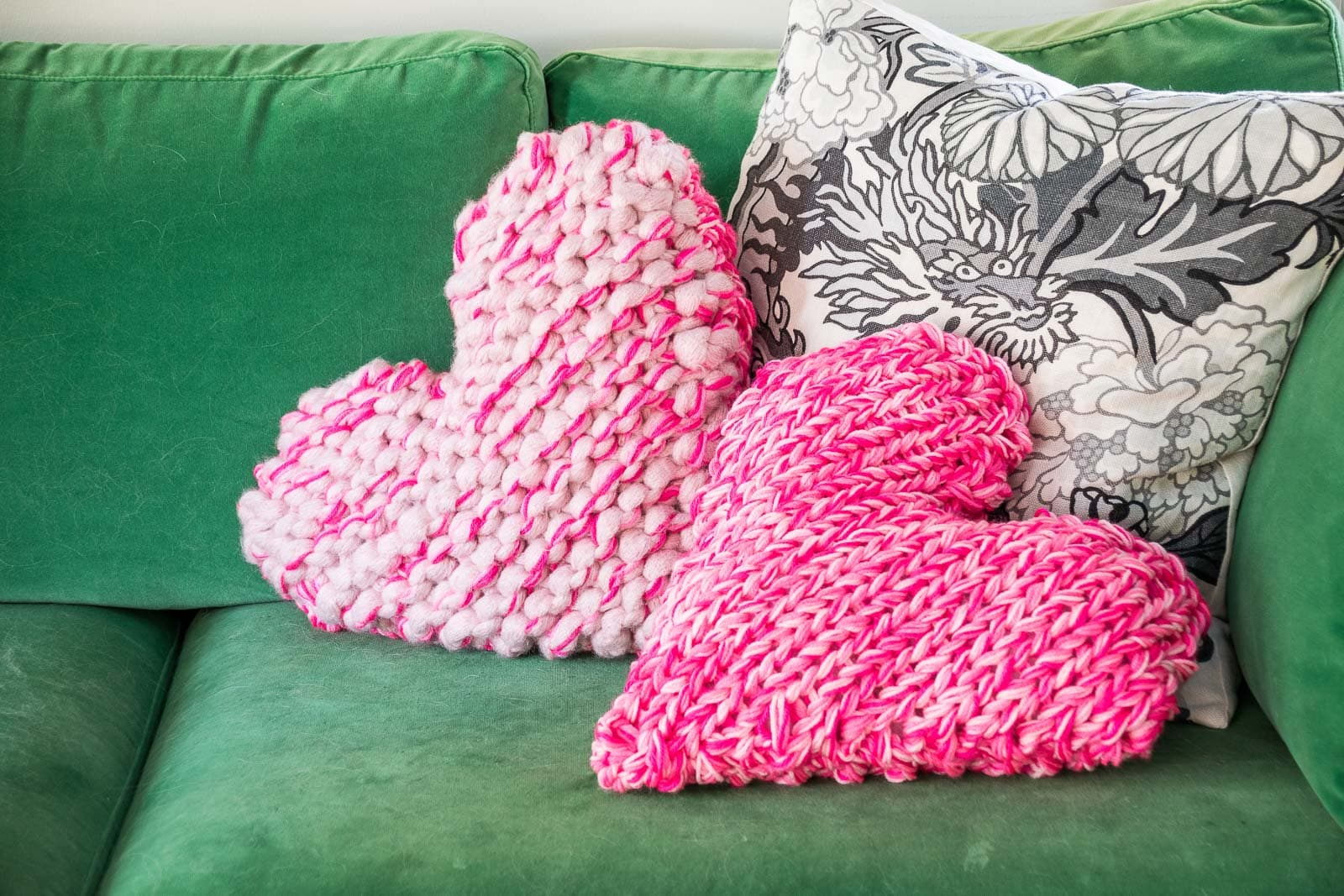 knitted chunky heart pillows