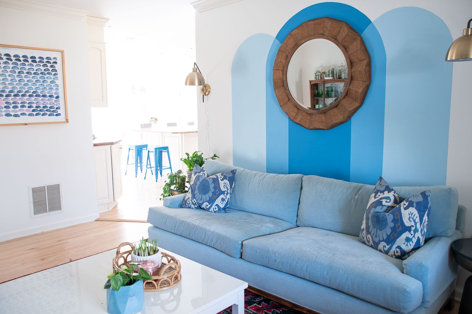 painted blue arch murals