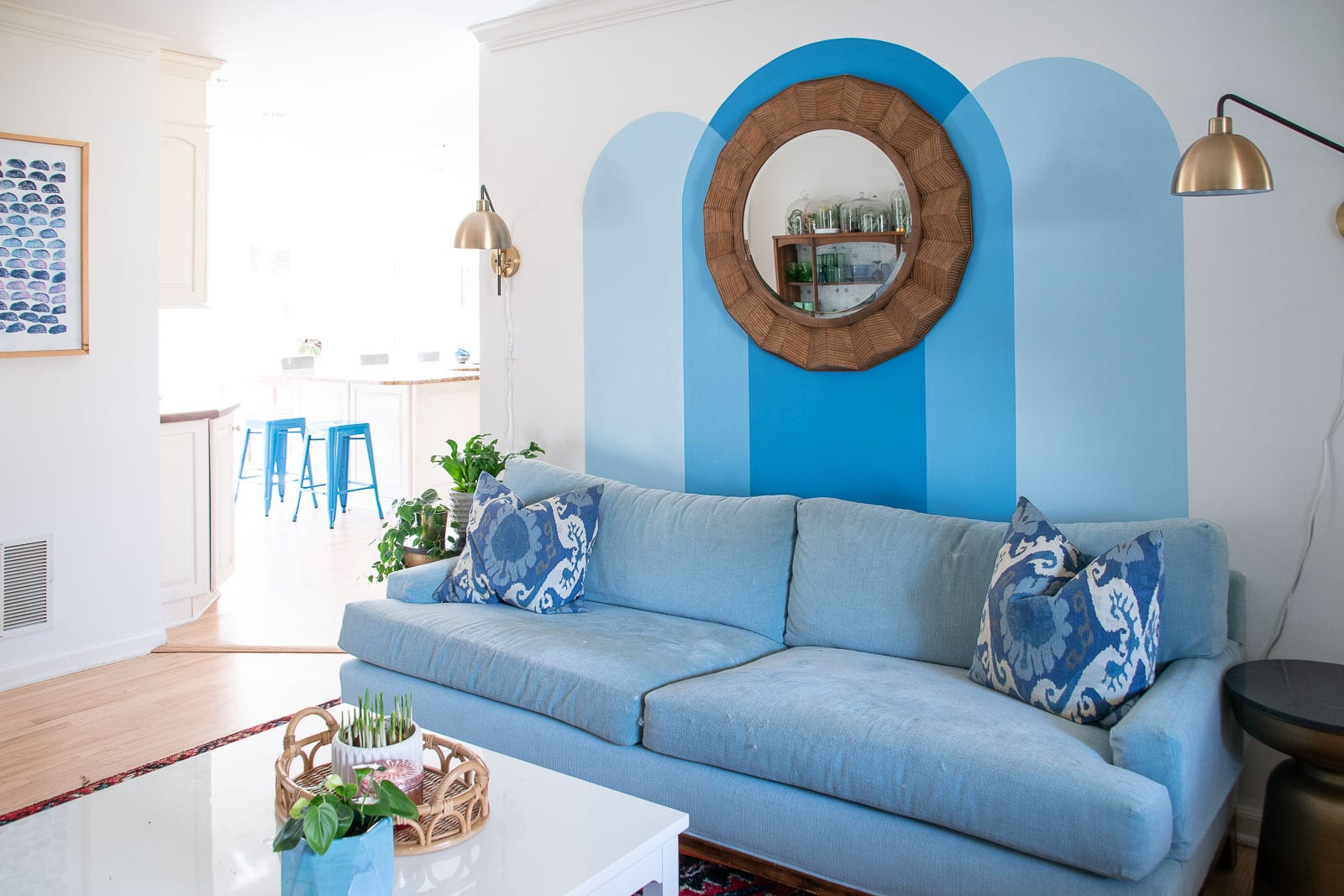 painted blue mural