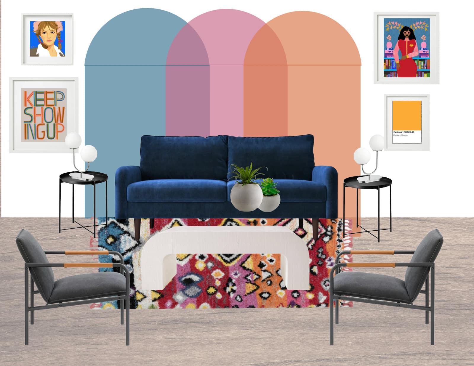 design board with mural inspo