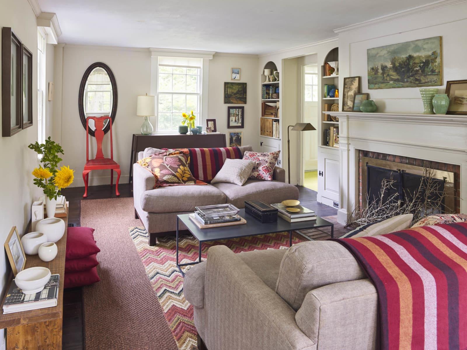 styled booksheves in livingroom