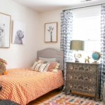 boys bedroom refresh with painted curtain