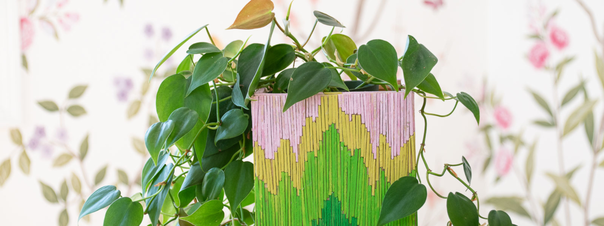Toothpick Art: Flamestitch Planter