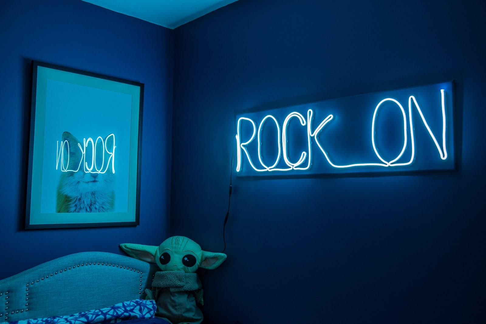 rock on neon light