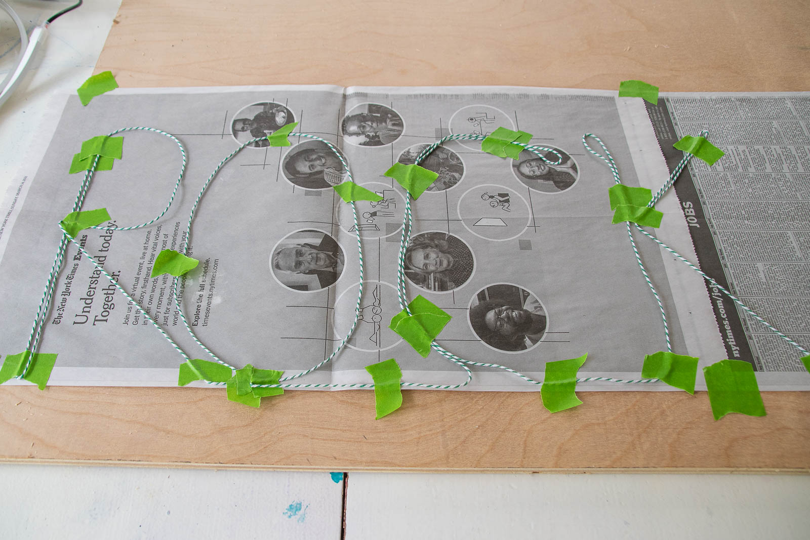 plan out design with twine first