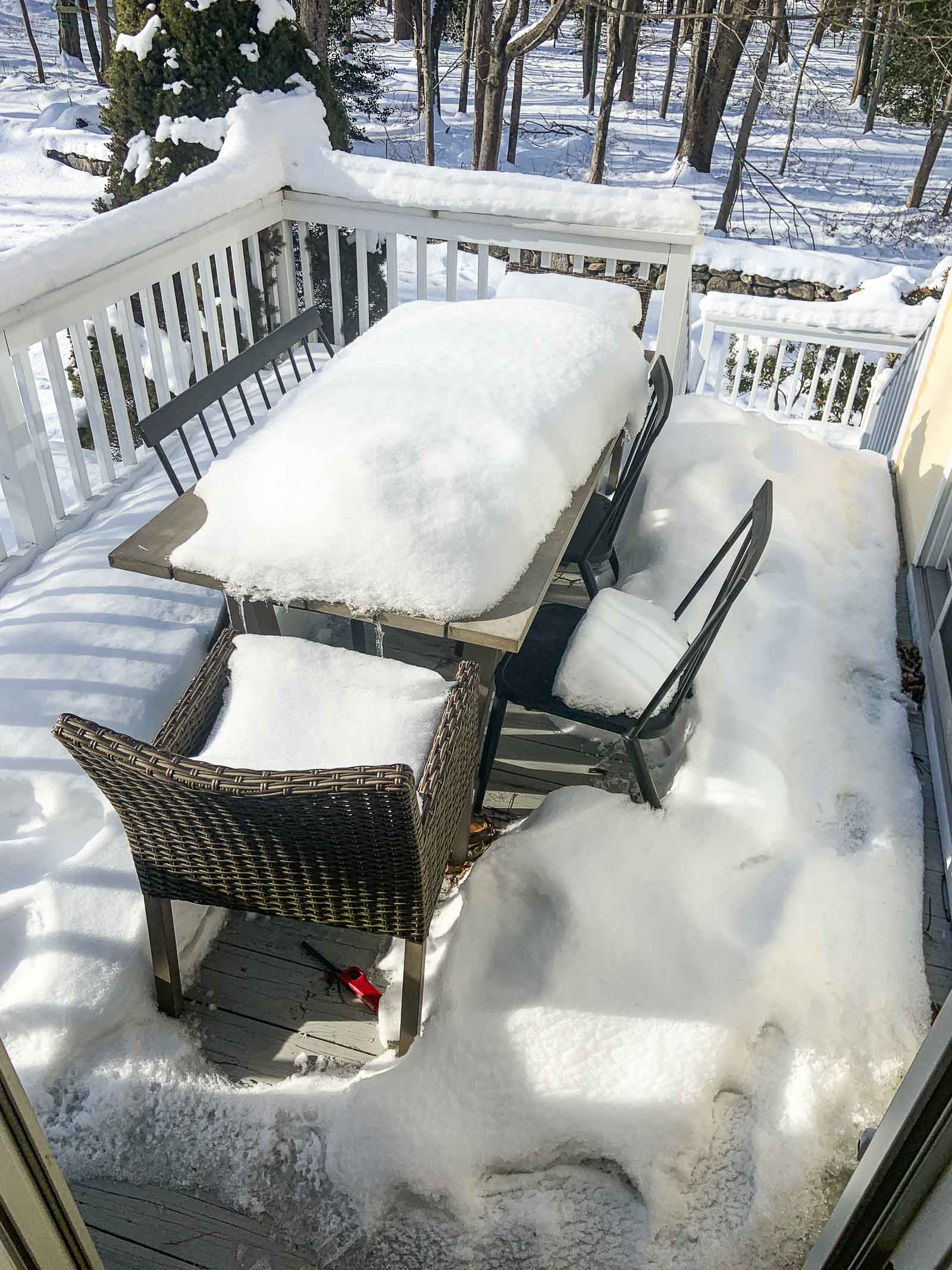 snow covered back deck