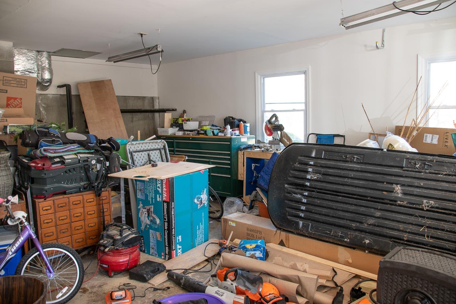 disorganized garage before